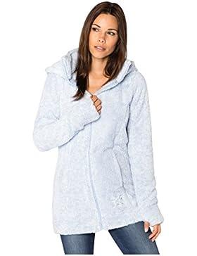 SUBLEVEL Abrigo de mujer de tela peluche | Abrigo largo de forro polar con cuello alto