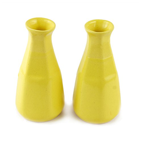 Clay Aesthetic Six Face Yellow Bud Vase - Set of Two