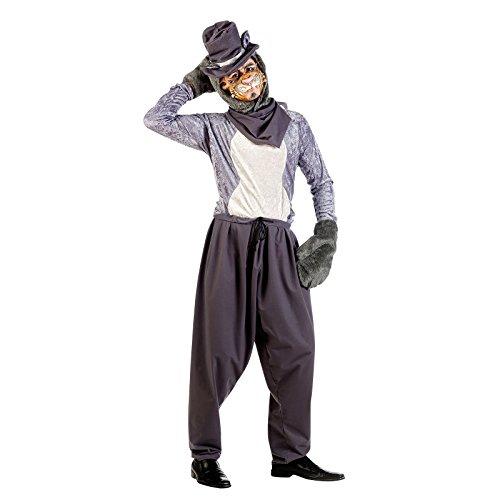 Streuner Kater Kostüm Herren 5-tlg Tier Kostüm grau zum Karneval - (Kater Kostüm)