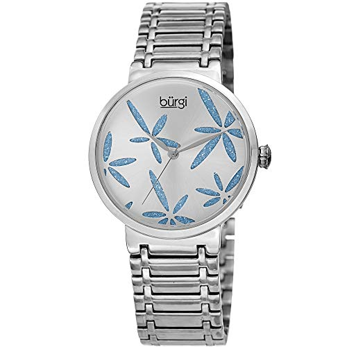 Burgi Femme Bur190ss Sparkling Fleur Bleue Accentuée en Acier Inoxydable Argent Bracelet de Montre