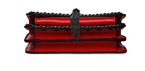 QPALZM 2017 Frau Retro Quaste Kette Tasche Multi-Layer-Schulter Schräge Kreuz Handtasche Gray