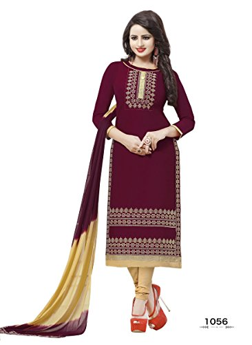 Stylenme Women's Cotton Embroidery Red salwar kameez suit set, Free Size