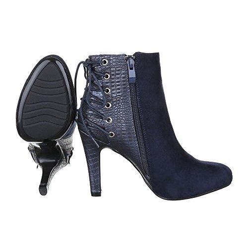 High Heel Stiefeletten Damen Schuhe Schlupfstiefel Pfennig-/Stilettoabsatz High Heels Reißverschluss Ital-Design Stiefeletten Blau