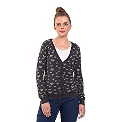 MansiCollections Black Heart Knitted Cardigan for Women