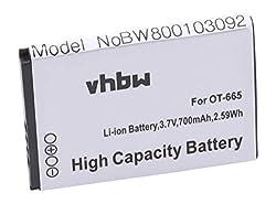 vhbw Li-Ion Akku 700mAh (3.7V) für Handy Smartphone Telefon Alcatel One Touch OT-2010, OT-2010D, OT-2010G, OT-665, OT-665x, Sesame II