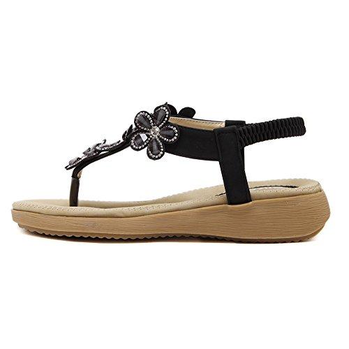 Minetom Donna Boemo Stile Sandali Di Estate Fiori Di Diamanti Pantofole Clip Toe Scarpe Spiaggia Piatto Infradito Sandali Nero