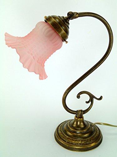 Lampe Messing brüniert Tischleuchte, Nachttisch, Kommode, Lampen Glas Jugendstil S21. Abmessungen: Höhe 32cm, Durchmesser vetro13cm, Durchmesser Base 13cm. Lampenfassung Edison E14Sockel klein.Die Abmessungen sind inklusive des Glas. (Edison Lamp Base)