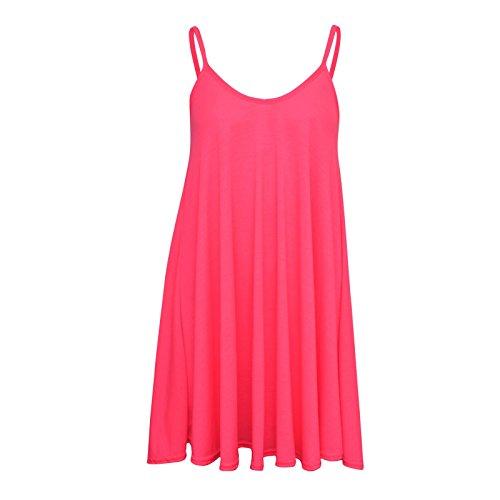Fast Fashion - Robe Plus La Taille Sans Manches En Viscose Plaine D'oscillation De Maillot - Femmes Néon Rose