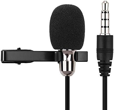 Mugig Micrófono Condensador de Solapa para Android IPhone IPad con Cable de Audio de 1,5mm con Pinza Color Negro Incluye Bolsillo