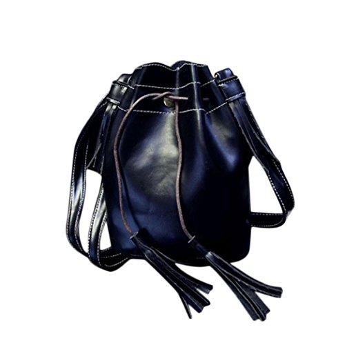 bolsos de las mujeres, FEITONG Nuevo bolso de la mujer Bolsa de hombro del mensajero de la borla Hobo del monedero del bolso de la taleguilla (negro)