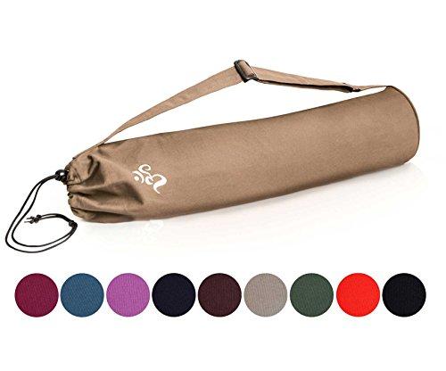 Borsa da yoga »Devala« di #DoYourYoga in pregiato cotone, lavorazione di qualità, adatta a tutti i tappetini da yoga di dimensioni fino a 180 cm x 62 cm x 0,6 cm, colore: sabbia