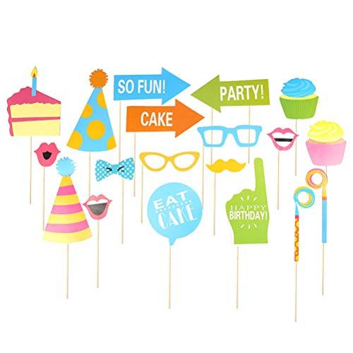 Amosfun 19 pcs Geburtstag Fotorequisiten Kuchen Pfeil Brille Lippen Hut Kinder Erwachsenen Geburtstag Party Fotostand