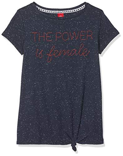 s.Oliver s.Oliver Mädchen T-Shirt 66.901.32.5750 Blau (Dark Blue Melange 58w7) 140 (Herstellergröße: S/REG)