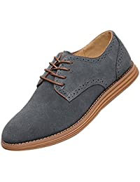 Gleader NUEVOS zapatos de gamuza de cuero de estilo europeo oxfords de los hombres casuales 999 Gris(tamano 42)