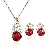 FEEHAN Damen Schmuckset Rubin Herz Rot Halskette mit Anhänger & Ohrringe Zirkonia Legierung inkl. Halskette Anhänger Schmuck Geschenk
