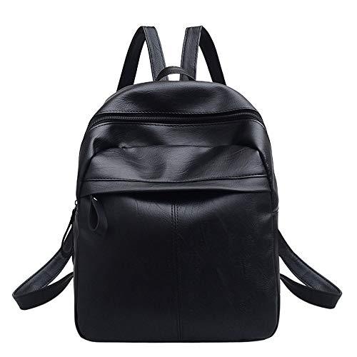Multi-handle Satchel (Damen Leder Vintage Solid Zipper Rucksack Soft Handle Satchel Travel School Rucksack Tasche Schwarz)