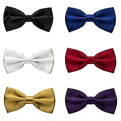 Idea Regalo - Papillon da uomo, Meersee set di 6 pezzi Cravatta a farfalla Cravatta da Uomo per Smoking Unisex Nozze Festa Cerimonia a Scacchi Scozzese