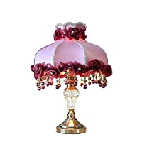 YC electronics Table Lamps Desk Lamps European-Style Table Lamp, Purple Cloth Lamp Shade Wedding Gift Night Light,Creative Dual Light Source Crystal Copper Table Lamp