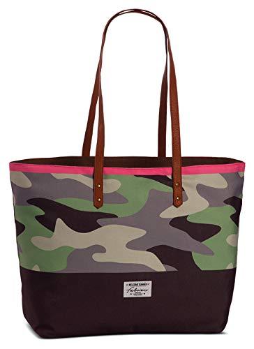Camouflage Tasche Umhängetasche Shopper Einkaufstasche mit Reißverschluss Kunstlder Henkel Badetasche Cooles Tarnmuster Canvas Stofftasche - grün grau -