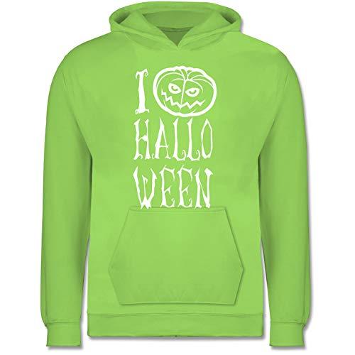 Kinder - I Love Halloween - 7-8 Jahre (128) - Limonengrün - JH001K - Kinder Hoodie ()