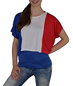 S&LU absolut angesagtes 2-teiliges Damen Frankreich-Fan-Flagtop Größe XS-L (blau, XS-L)