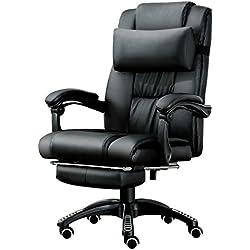 JL Comfurni - Sedia Girevole da Ufficio, in Pelle, ergonomica, reclinabile, con poggiapiedi Imbottito e Cuscino Lombare Regolabile in Altezza, Colore: Nero