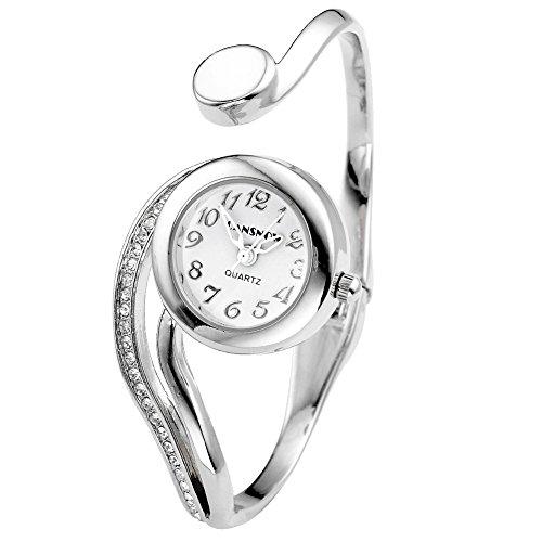 Relojes JSDDE, elegant para mujer con indicador blanco redondo reloj de pulsera de cuarzo brazalete de plata diseño de pulseras doblara