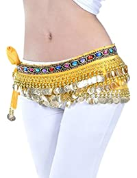 cbf060337baa YuanDian Femme Professionnel Monnaies Danse du Ventre Ceinture Chaîne  Sequin Foulard Hip Danse Jupe Oriental Belly