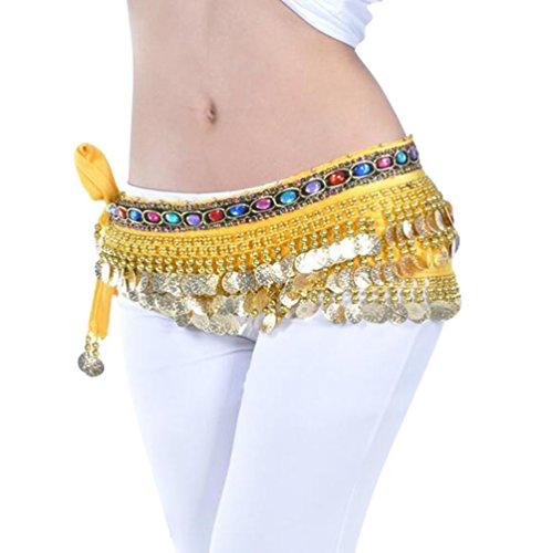 YuanDian Femme Professionnel Monnaies Danse Du Ventre Ceinture Chaîne Sequin Foulard Hip Danse Jupe Oriental Belly Dance Costume Jaune