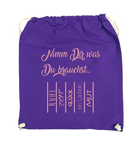 Comedy Bags - Nimm Dir was Du brauchst - ABREIßZETTEL - Turnbeutel - 37x46cm - Farbe: Schwarz / Silber Lila / Rosa