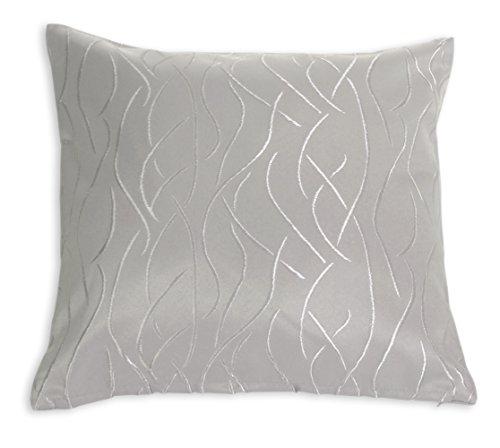Kissenhülle #257 Damast Streifen Muster 40x40 oder 50x50 cm Kissenbezug Deko modern (silber, 40x40 cm)