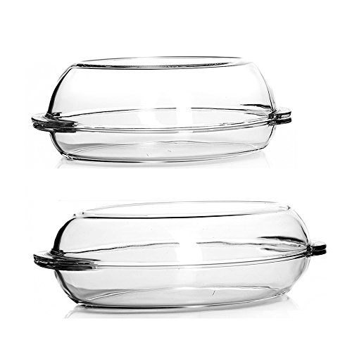 Pasabahce Oval Round Glass Dishes with Lid/2 Piece set/34 x 19,5 cm/1,9L and 2,25L/Heat Resistant Ovenware/Dishwasher Safe