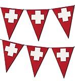 Deko-Artikel Wimeplgirlande Wimpel-Accessoires Flagge Schweiz rot weiß Dreiecksformen spitz