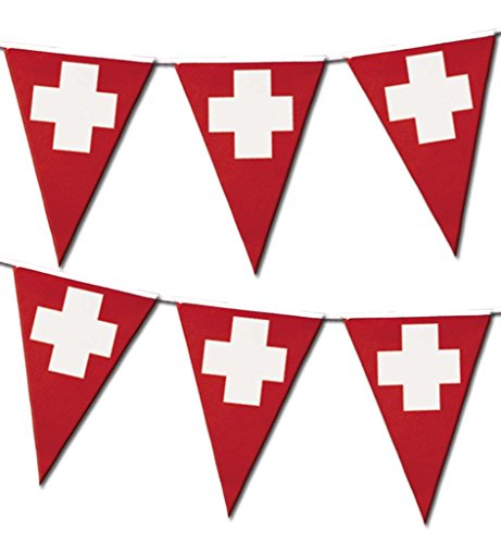 Deko-Artikel Wimeplgirlande Wimpel-Accessoires Flagge Schweiz rot weiß Dreiecksformen spitz (Olympischen Spiele Themen Kostüm Party)