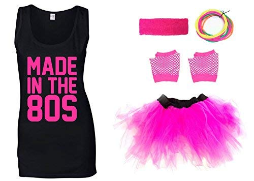 Made in The 80s Ladies Tank Top , Skirt and Accessories, Sizes 8 to 16