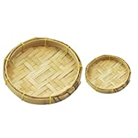KingbeefLIU Miniature Woven Bamboo Sieve Model Toy Kitchen Scenery Accessories Mini Simulation Cabin Decoration