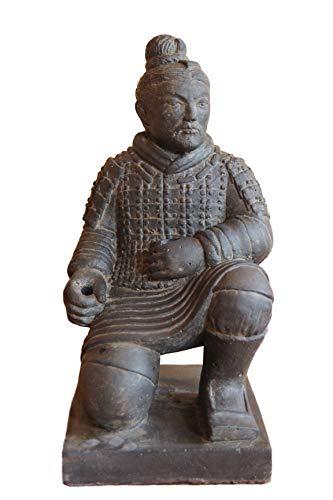 Neo-Therm Chinesischer Krieger kniend 50 cm/Steinfigur Krieger Terrakotta Armee Statue 50 cm für Haus und Garten,Gartenfigur, Gartendekoration, Steinguss