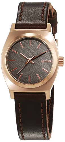 Nixon Damen-Armbanduhr Small Time Teller Rose Gold Gun Brown Analog Quarz Leder A5092001-00 (Nixon Watch Gold Rose)