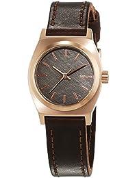 Nixon Damen-Armbanduhr Small Time Teller Rose Gold Gun Brown Analog Quarz Leder A5092001-00