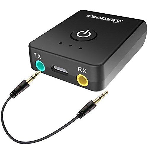 Bluetooth Transmitter und Empfänger,Cootway 2-in-1 Bluetooth Adapter,Bluetooth Sender für TV (Paar 2 Bluetooth Kopfhörer),Bluetooth Empfänger für Auto/Kabelgebundene Kopfhörer mit 3.5mm Audio kabel