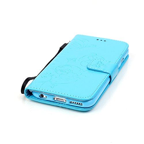 iPhone 8 Flip Case Leder,Ultra Slim Exklusive Echtleder Tasche Handyhülle für iPhone 7,BtDuck 360 Grad Flip Case Vertikal Klappbar aus Echtleder Flip Cover Hülle Lanyard Ledertasche Wallet Bookstyle C Schmetterling / Blau
