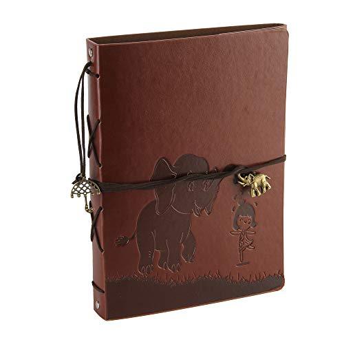 (Foto Album Scrapbook Leder Abdeckung 60 Seiten Premium Black Paper Memory Book, Kinder zurück zu Schule Geschenke, Hochzeitstag Geschenke, Chrismas Geschenke, Geburtstagsgeschenke (Elefant))
