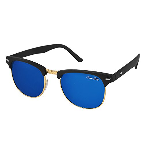 Silver Kartz Blue Mercury Matt Clubmaster Wayfarer Sunglasses (wc084)