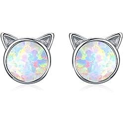 Pendientes de gato Plata de ley 925, aretes de ópalo para niña Pendientes de oreja de gato de plata esterlina para niños Joya de gato para niña Pendientes de plata con un regalo para los amantes de lo