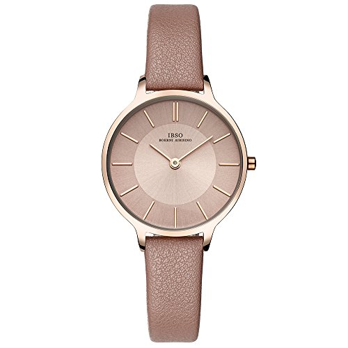 24a9c05cc IBSO Small Watches Leather Strap Round Case Elegant Wristwatch for Female  (6608-Brown)