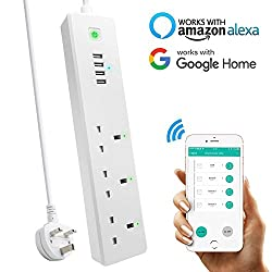 Wifi Smart Power Strip, Top-max Intelligent Surge Protector Multi Plug Timer Sockets Extension Lead With 3 Ac Outlets 4 Usb Ports Voice Controlled By Amazon Echo Alexa Google Home Via Android Ios Smartphone Tablets