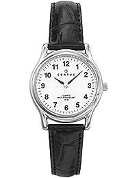 Certus–Reloj Mujer 644284–Pulsera cuero negro cocodrilo–Caja plateado–Reloj color blanco