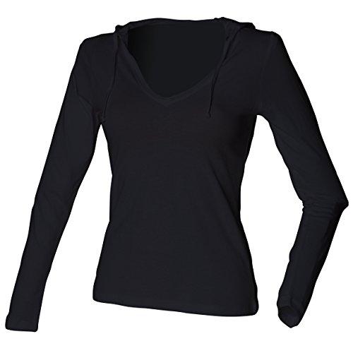skinnifit T-shirt à manches longues à capuche sk251 Noir - Noir