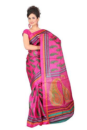 Aaina Pink Khadi Silk Printed Saree With Blouse  available at amazon for Rs.410