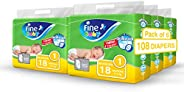 Fine Baby Diapers, DoubleLock Technology , Size 1, Newborn, 2-5 kg, 108 Diapers